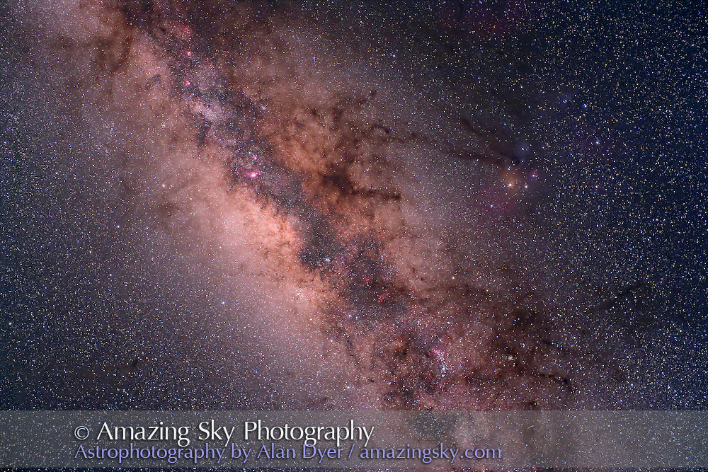 Sagittarius and Scorpius area of centre of Milky Way, diagonal framing. Hutech-modified Canon 5D camera with 35mm f/1.4 Canon L lens at f/4 for 6 minutes each at ISO400. Stack of 4 exposures averaged combined. Taken from Queensland, Australia, June 2006.