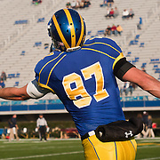 11/12/11 Newark DE: Delaware Wide receiver John Hodgkinson #87 attempts to catch the pass during warm ups prior to a Week 10 NCAA football game against Richmond...Special to The News Journal/SAQUAN STIMPSON