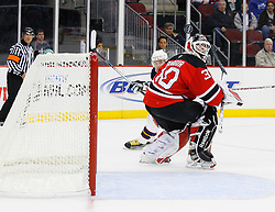 Nov 1, 2008; Newark, NJ, USA; New Jersey Devils goalie Martin Brodeur (30) during the first period at the Prudential Center.