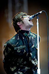 Liam Gallagher of Oasis, on the main stage at  T in the Park, 13th July 2002..Pic ©2010 Michael Schofield. All Rights Reserved.