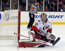 February 18, 2008; Newark, NJ, USA;  Carolina Hurricanes goalie John Grahame (47) makes a save during the second period at the Prudential Center in Newark, NJ.