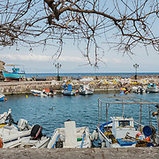 The harbour of Skala Sikamineas, a small village along the northern coasts of Lesbos, where the majority of refugees arrive from the near Turkey