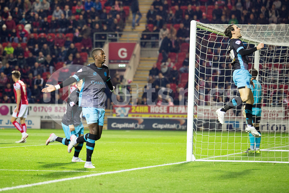 Lucus Joao of Sheffield Wednesday celebrates his goal during the Sky Bet Championship match between Rotherham United and Sheffield Wednesday at the Aesseal New York Stadium, Rotherham, England on 23 October 2015. Photo by James Williamson.
