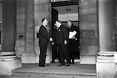 1965 Prime Minister of Northern Ireland, Captain Terence O'Neill visits Taoiseach Sean Lemass in Dub