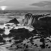 Victoria Beach Rock Shelf Waterfall Into Sunset - Black & White