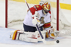 April 24, 2012; Newark, NJ, USA; Florida Panthers goalie Scott Clemmensen (30) makes a save during the first period of game six of the 2012 Eastern Conference quarterfinals at the Prudential Center.
