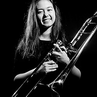 A Philips Academy Andover student musician photographed with her trombone.