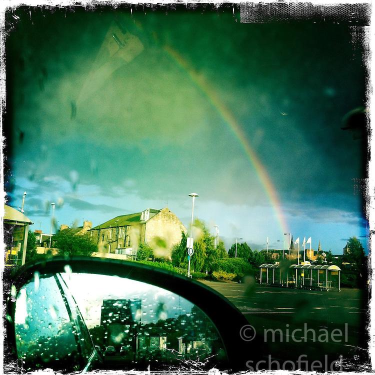 Falkirk rainbow..Hipstamatic images taken on an Apple iPhone..©Michael Schofield.