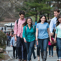 Students walking between classes at Brandeis University in Waltham, MA.