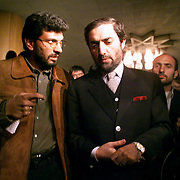 Dr. Abdullah Abdullah, the acting Afghan foreign minister, answers questions about possible power sharing arrangements in the post-Taliban government in this November 2001 photo.