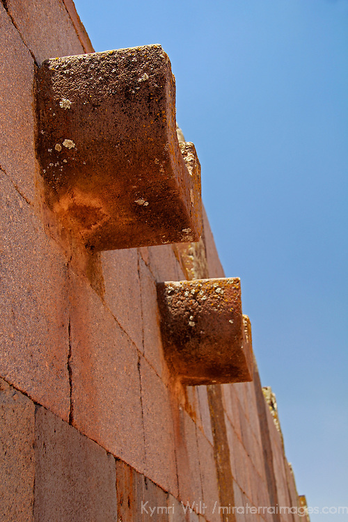 South America, Bolivia, Tiwanaku. Drainage soupt at Pre-Columbian archaeological site of Tiwanaku, a UNESCO World Heritage Site.