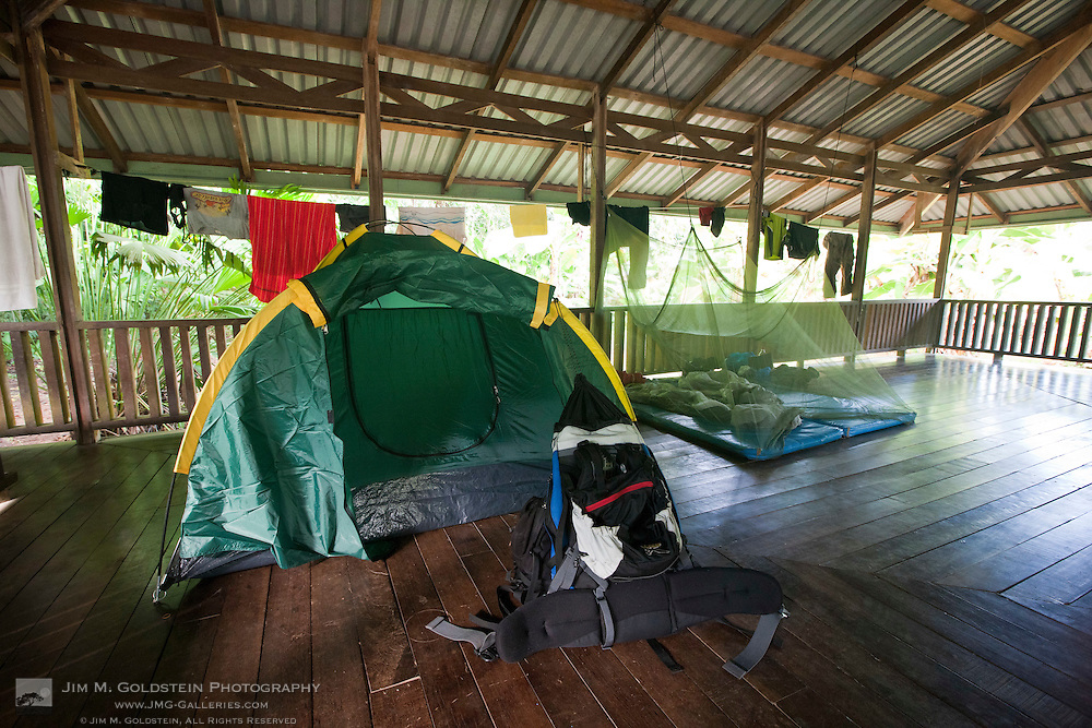 Tents and clothes lines at the raised camping facilities of Sirena Biological Station Corcovado National Park, Costa Rica