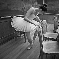 Classic ballerina dancing inside a classroom at Yale University.