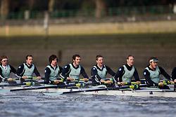 08.12.2010 LONDON, River Thames. Rowing. Boat Race 2010 Trial Eights. Cambridge University 'Bake'. Bow to Stern, Nick EDELMAN, Charlie PITT-FORD, Josh PENDRY, Alex ROSS, Geoff ROTH, Derek RASMUSSEN, David NELSON, Mike THORP, Liz BOX (Cox).