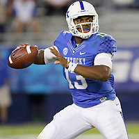 September 29, 2012 - Lexington, Kentucky, USA - UK quarterback Jalen Whitlow looks for a receiver in the first half as the University of Kentucky plays South Carolina at Commonwealth Stadium. South Carolina won the game 38-17. (Credit Image: © David Stephenson/ZUMA Press).