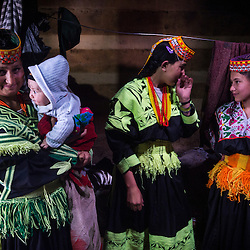 Bumburet, Chitral District,Pakistan.Pic Shows Kalash women in the Kalash village in the valley of Bumburet