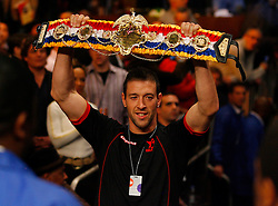Nov 8, 2008; New York, NY, USA; Enzo Macarinelli carries Joe Calzaghe's belt to the ring before his 12 round Light Heavyweight Championship fight against Roy Jones Jr. at Madison Square Garden in New York, NY.  Calzaghe defeated Jones via unanimous decision.