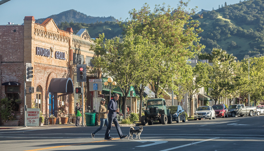 Calistoga residents Susan and Tom Fickinger with their dog, Brodie, cross Lincoln Avenue on a Saturday morning  in Calistoga.