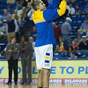 Delaware Forward Elena Delle Donne (11) takes long range jump shots prior to a NCAA college basketball game against George Mason Thursday, Feb. 23, 2012, at the Bob Carpenter Center in Newark, Del. (AP Photo/Saquan Stimpson)
