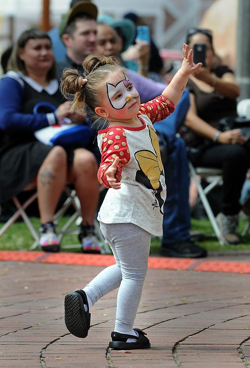 jt040817a/a sec/jim thompson/ Xiamara Cleopatra Cordova-3 dances to the music of Mariachi Traditionál on the Plaza in Old Town. Saturday April 08, 2017. (Jim Thompson/Albuquerque Journal)