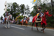 Horse riders in samurai armors on their way to the house of Samurai Fuku Taisho