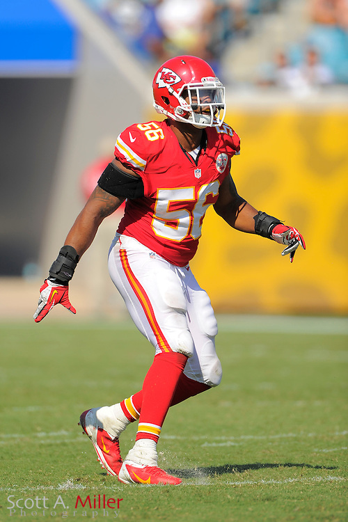Kansas City Chiefs inside linebacker Derrick Johnson (56) during the Chiefs 28-2 win over the Jacksonville Jaguars at EverBank Field on Sept. 8, 2013 in Jacksonville, Florida. The <br /> <br /> &copy;2013 Scott A. Miller