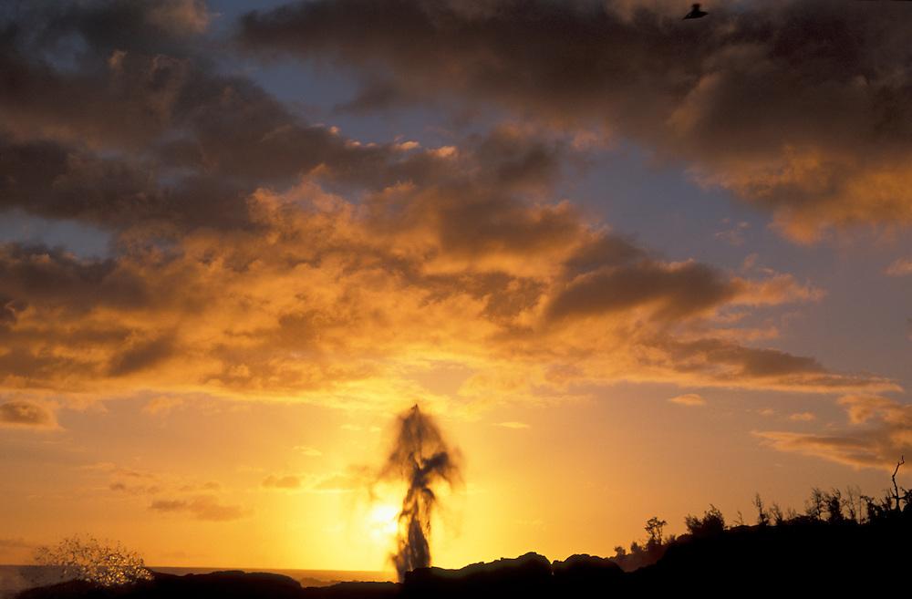Spouting Horn against sunset, near Poipu, Kauai Hawaii, USA