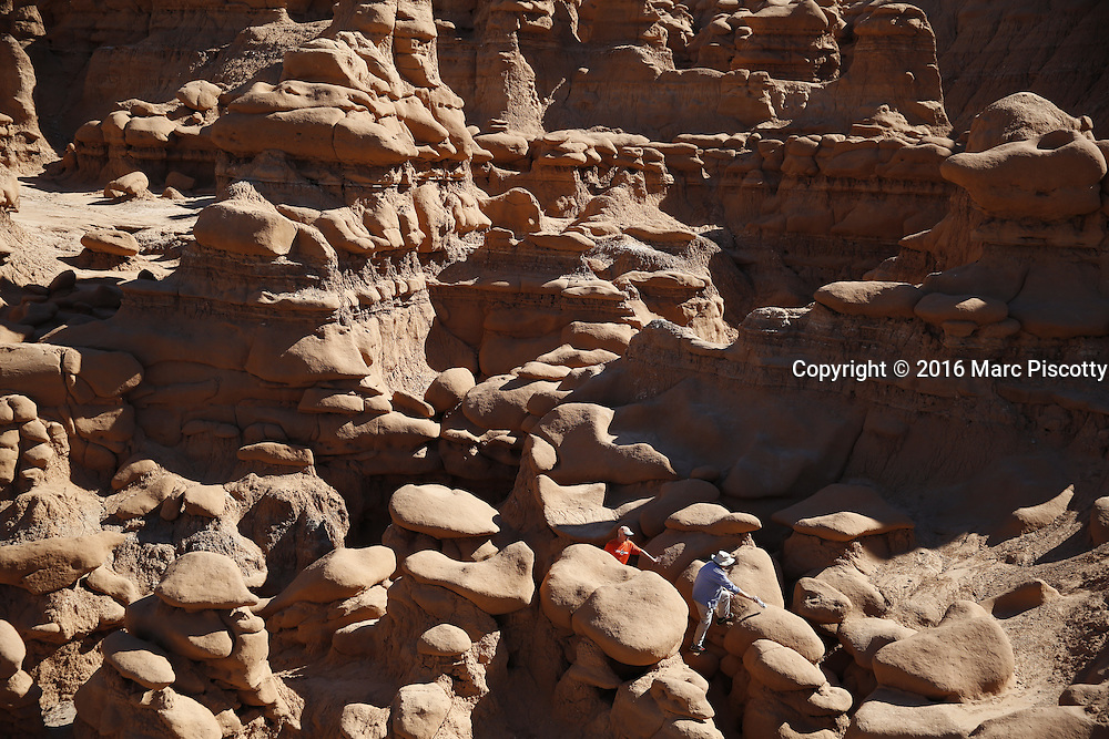 SHOT 10/19/16 1:41:06 PM - Emery County Utah tourism photos including hiking and exploring Goblin Valley including an arch rappel, the Black Dragon Canyon and  mountain biking Saucer Basin with Lamar Guymon. (Photo by Marc Piscotty / © 2016)