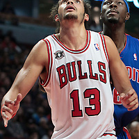 30 October 2010: Chicago Bulls Joakim Noah vies for a rebound with Detroit Pistons Ben Wallace during the Chicago Bulls 101-91 victory over the Detroit Pistons at the United Center, in Chicago, Illinois, USA.