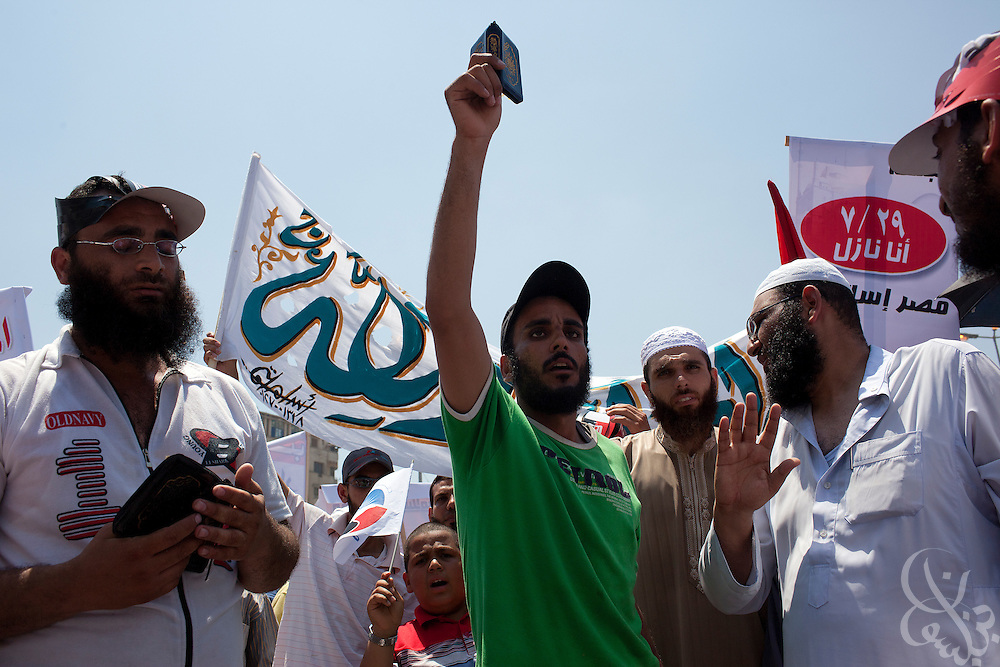 Egyptian salafis take part in Friday prayers and a protest at Tahrir Square in Cairo, Egypt July 29,2011. (Photo by Scott Nelson)