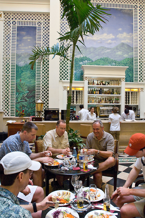 """Feb 24, 2008 four hours after Raul Castro became President.  Canadian Investment Bankers with BMO Nesbitt Burns  arrived to """"go fishing"""".  Lunching at the recently restored Sarastoga hotel on Prado street, Havana, Cuba"""