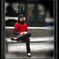 Muslim girl on lunch break in Tel-Aviv