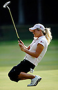 Suzann Pettersen just misses a birdie putt on the par 4 16th during the final round of the LPGA Championship. She shot a 5-under par 67 at Bulle Rock in Havre de Grace to win and finish 14 under for the tournament.