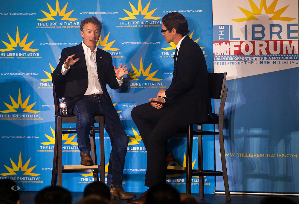 Republican Presidential candidate Rand Paul answers a question posed to him by executive director Daniel Garza with The Libre Initiative within CSN's Meachum Student Services Building on Thursday, September 17, 2015.