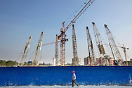 Cranes stand at the construction site in Yangon, Myanmar on December 15, 2015. (Photo by Kuni Takahashi)