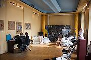 Ukrainski Swiat (Ukrainian World) museum and community center. A replica of the Maidan in a classroom.