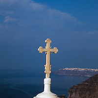 Europe, Mediterranean, Aegean, Greece, Greek Islands, Santorini, Thira. Scenic view of Mediterranean from Santorini.