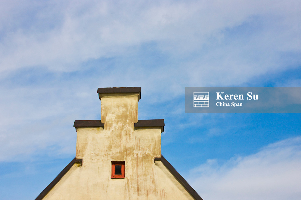 Roof top of medieval house, Visby, Gotland Island, Sweden