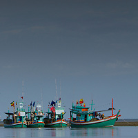 Thai fishing boats in Khao Sam Roi Yot National Park, Thailand