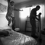 Months into Saleh's recovery, hospital officials reluctantly told Raheem that they would need the Family House, where Raheem and Saleh were staying, for other patients. A Bay Area couple - Leslie and Daniel Troutner - came to the rescue, finding a place for Raheem and Saleh in Oakland. Saleh jumped for joy as Daniel assembled his new bed.