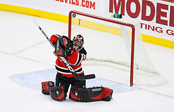 Jan 21, 2008; Newark, NJ, USA; New Jersey Devils goalie Scott Clemmensen (35) makes a blocker save during the third period at the Prudential Center. The Devils defeated the Canadiens 5-2.