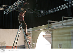 Construction of the set for New Riga Theatre of Latvia's production, Sound of Silence, takes place in TSB Arena, one of the venues in the New Zealand International Arts Festival in Wellington.