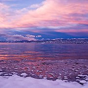 Winter Sunset on Kiva Beach, South Lake Tahoe, CA