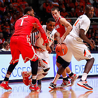 CHAMPAIGN, IL - JANUARY 05: Tracy Abrams #13 of the Illinois Fighting Illini tries to dribble between the trap of Deshaun Thomas #1 of the Ohio State Buckeyes and Aaron Craft #4 of the Ohio State Buckeyes at Assembly Hall on January 5, 2013 in Champaign, Illinois. Ilinois defeated Ohio State 74-55. (Photo by Michael Hickey/Getty Images) *** Local Caption *** Tracy Abrams; Deshaun Thomas, Aaron Craft