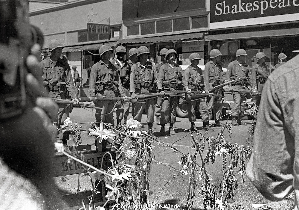 For 2 weeks the streets of Berkeley were baracaded with rolls of barbed wire when US National guard took over the town during People's Park Student protest & riots,California 1969