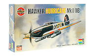 London, England - November 18, 2010: Airfix Hawker Hurricane Mk1 Fighter Plane Model, Airfix is based in the United Kingdom and was founded in 1939.