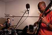 Jazz musicians Daniel Freedman, drums, Avishai Cohen, trumpet, Anat Cohen, woodwind, Lionel Loueke, guitar and vocal effects, Jason Lindner, piano and keys, Omer Avital, bass and Gilmar Gomes on percussion performing at WBGO studio sessions in Newark, NJ on June 22, 2012.