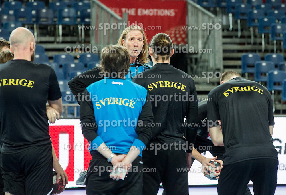 Staffan Olsson coach with players during practice session of Team Sweden on Day 1 of Men's EHF EURO 2016, on January 15, 2016 in Centennial Hall, Wroclaw, Poland. Photo by Vid Ponikvar / Sportida