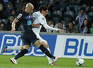 Portugal, FUNCHAL : Porto's brazilian defender Maicon (L) vies with Nacional's forward Rondon (R) during their Portuguese football match at Madeira Stadium in Funchal on March 16, 2012. .PHOTO/GREGORIO CUNHA.Estadio da Madeira, Funchal, Liga Portuguesa de futebol, Nacional vs Porto. .Maicon e Rondon.Foto Gregório Cunha