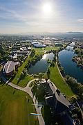 Aerial shot of Gonzaga's campus facing East.